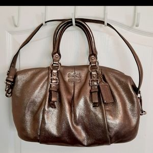 COACH bronze soft leather hobo